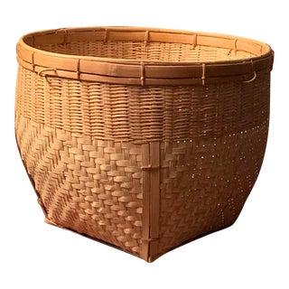 Large Vintage Woven Basket For Sale