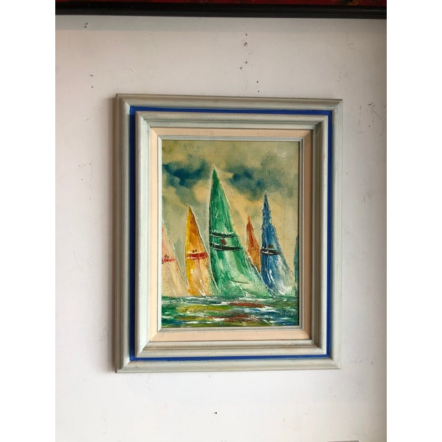 Coastal Vintage Sail Boats Painting For Sale In Miami - Image 6 of 11