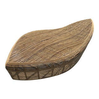 Large Scale Organic Shaped Natural Rattan Bench / Table For Sale
