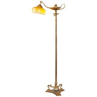 1910s Tiffany Studios Gilt Bronze and Damascene Favrile Aladdin Floor Lamp For Sale