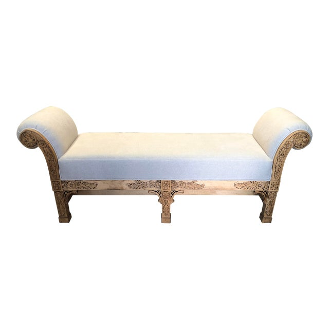 Asian Carved Wood Upholstered Bench For Sale