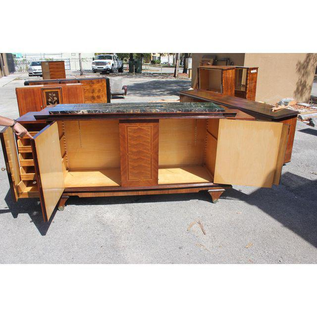 1940s Art Deco Exotic Macassar Ebony Marble Top Sideboard For Sale - Image 4 of 12