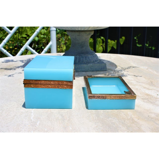 1920s Early 20th Century French Tiffany Blue Opaline Glass Box and Ashtray Set For Sale - Image 5 of 13