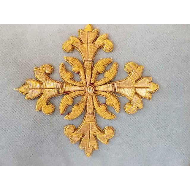Antique French Ecclesiastical Embroidered Metallic Cross Applique on Custom Down Pillow For Sale - Image 4 of 6