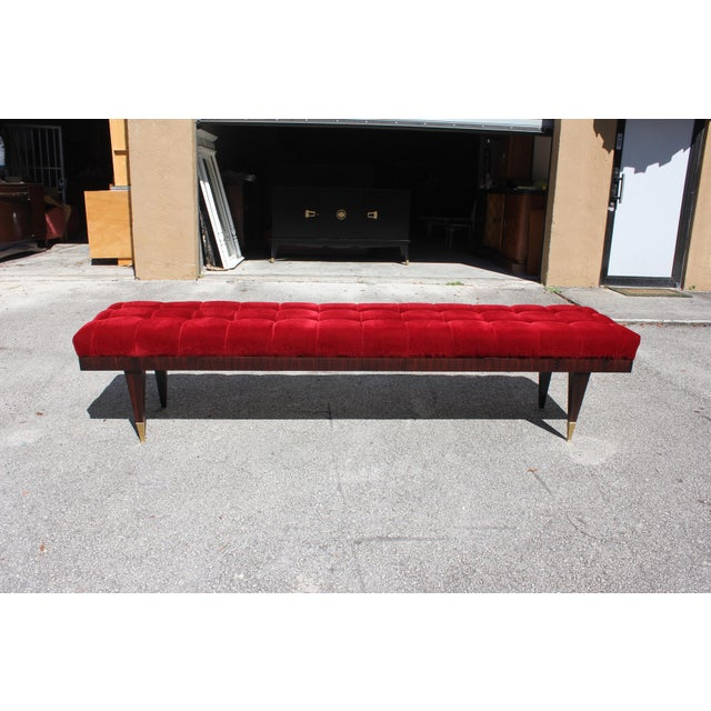 Beautiful French Art Deco Exotic Macassar Ebony Christmas Red Velvet Sitting Bench, circa 1940s. - Image 9 of 11