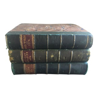 Green & Leather Sided Books - Set of 3 For Sale