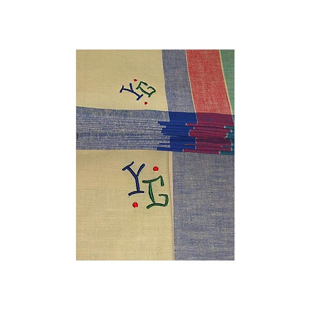 Antique French Art Deco Monogrammed Tablecloths & Napkins - Set of 14 For Sale In Philadelphia - Image 6 of 8