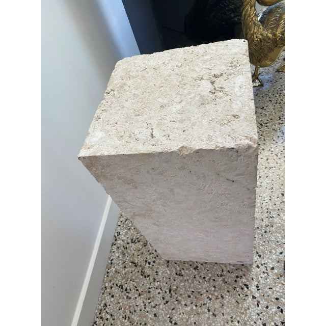 Vintage Low Pedestal in Cream Color Natural Travertine Stone For Sale In West Palm - Image 6 of 9