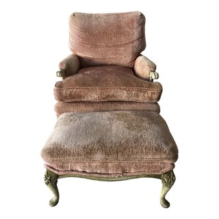 French Provence Style Chair & Ottoman Pinkish Peach Velvet For Sale