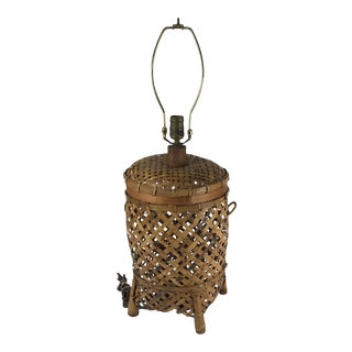 Vintage Chinese Wicker Basket Table Lamp For Sale