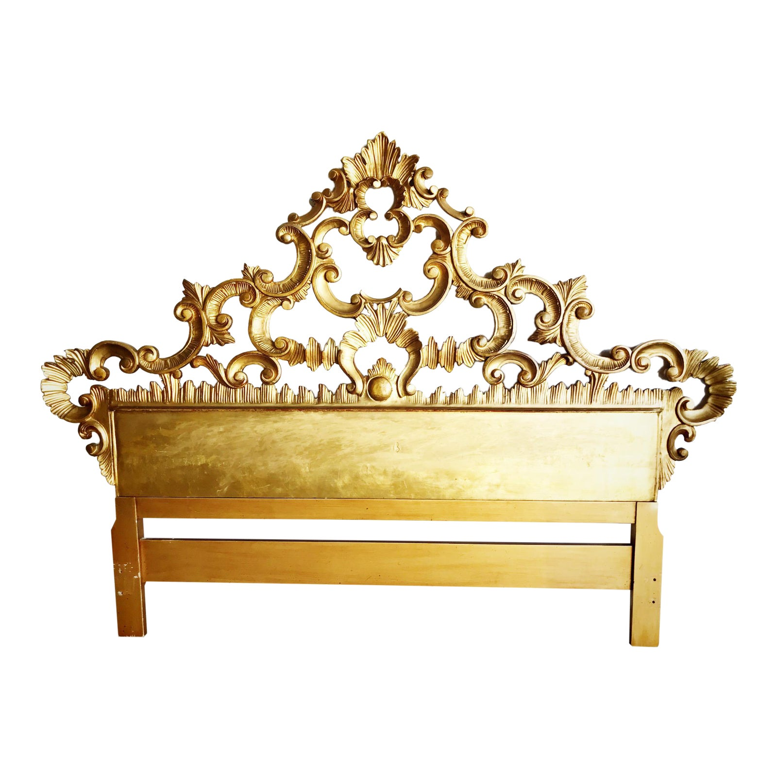Italian Carved Hollywood Regency French Rococo Style Giltwood Queen Sized Headboard