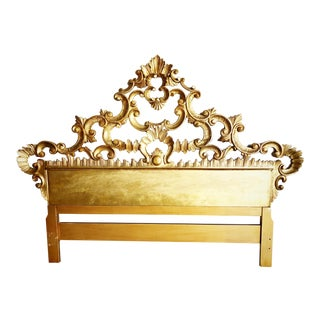 Italian Carved Hollywood Regency French Rococo Style Giltwood Queen-Sized Headboard For Sale