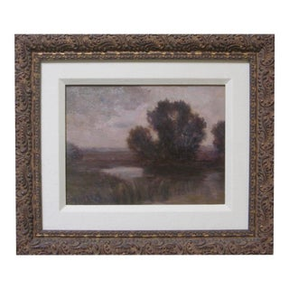19th Century Tonalist Landscape Signed Oil Painting For Sale