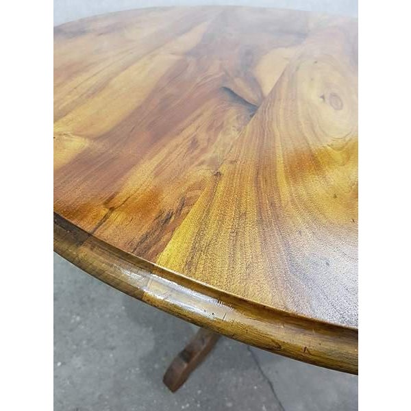 Antique French Walnut Round Tilt Top Occasional Side Breakfast Table For Sale - Image 9 of 13