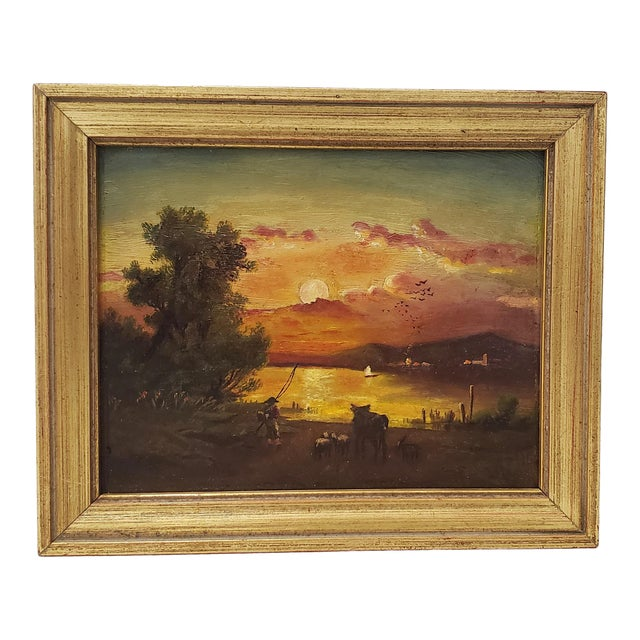 19th Century Luminous Sunset Over Mountain Lake Oil Painting For Sale