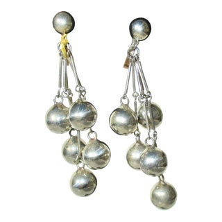 Sterling Silver Drop Beads Mexican Earrings For Sale