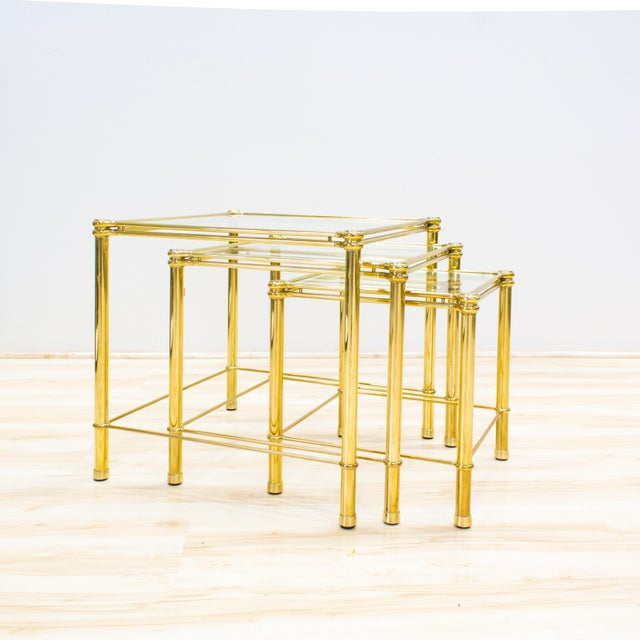 Italian Brass & Glass Nesting Tables - Set of 3 - Image 2 of 11