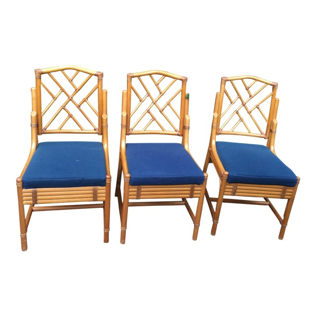 Chippendale Rattan Side Chairs - Set of 3 - Image 1 of 11