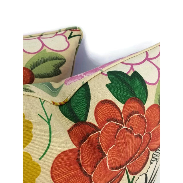 Manuel Canovas Misia Linen Printed Self-Welt Pillow Cover For Sale In Portland, OR - Image 6 of 8