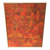 Image of Vintage Mid-Century Modern Abstract Cubist Orange Man Portrait Oil Painting For Sale