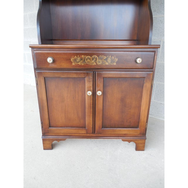 Brown L. Hitchcock Harvest Stenciled 2PC Bookcase Cabinet For Sale - Image 8 of 10