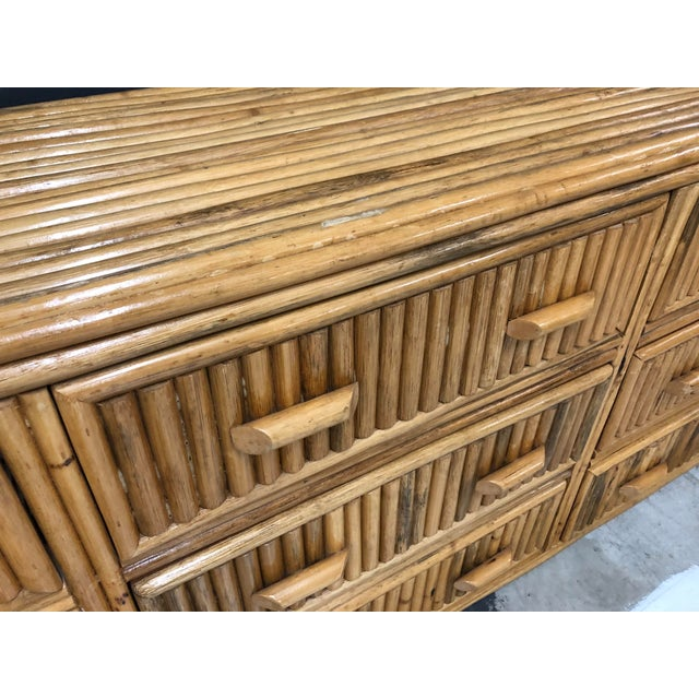 Wood 20th Century Split Rattan Triple Dresser For Sale - Image 7 of 13