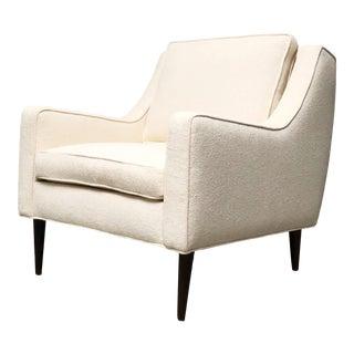 Mid Century Modern Cream Fabric Armchair For Sale