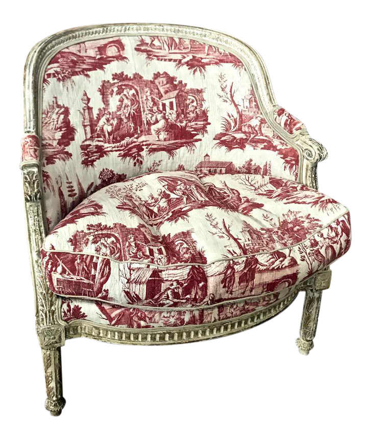 18th C. French Louis XVI In Early 19th C. Toile Upholstery Bergere Chair