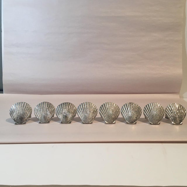 Silver Metal Shell Napkin Rings - Set of 8 - Image 2 of 6