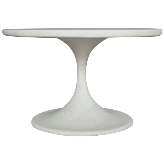 Plastic Cast Resin 'Spindle' Side Table, White Stone Finish by Zachary A. Design For Sale - Image 7 of 7