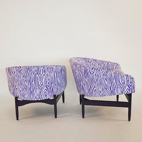 Mid Century Modern Pair of Lawrence Peabody Newly Upholstered Barrel Back Lounge Chairs - Image 2 of 12
