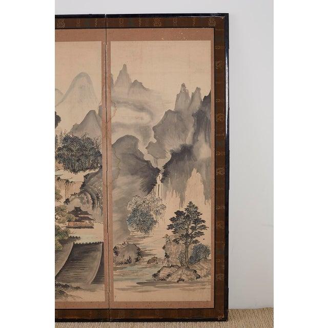 Japanese Six Panel Meiji Landscape Screen For Sale In San Francisco - Image 6 of 13