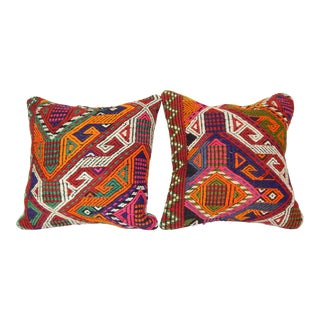 "Pair of Handwoven Tribal Wool Turkish Vintage Kilim Cushions or Pillows 18"" X 18"" For Sale"