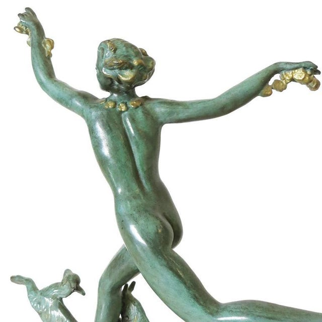 Derenne Style Art Deco Nude Dancing Nymph Bronze Statue with Black Marble - Image 5 of 8