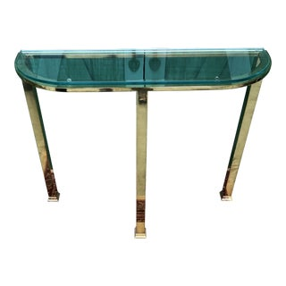 Vintage Transitional Design Institute America Brass & Glass Console Table For Sale