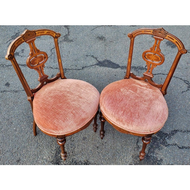 Late 19th Century 19th Century American Upholstered Renaissance Revival Walnut Chairs-a Pair For Sale - Image 5 of 10