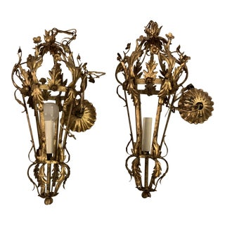 Vintage Italian Tole Brass Large Gilded Sconces- a Pair For Sale