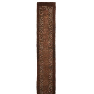 Antique Hooked Brown and Green Wool Floral Runner - 2′5″ × 18′1″ For Sale