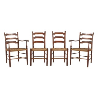 Set of 4 Hickory Ladder Back Dining Chairs W/ Rush Seats Circa 1910s