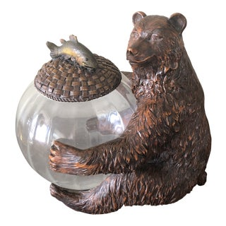 Rustic Bear Black Forest Style Cookie Jar For Sale