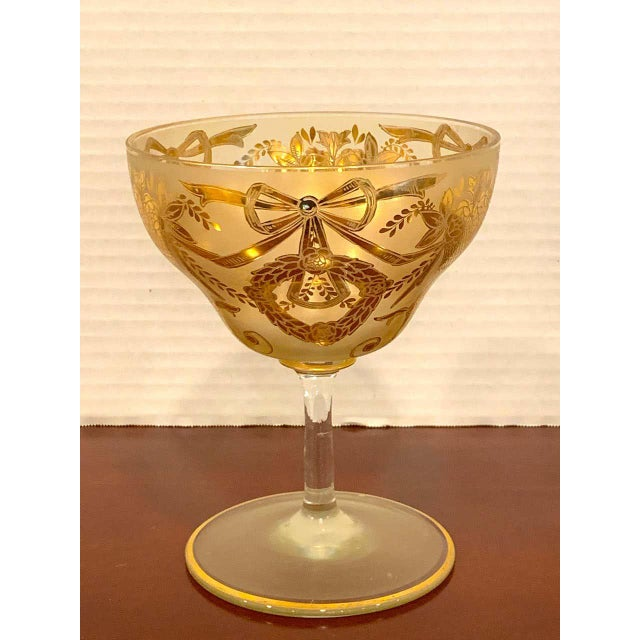 Early 20th Century Set of Six Gilt Enameled Frosted Grand Coupes/ Dessert or Seafood For Sale - Image 5 of 11