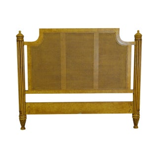 David Francis Faux Painted Tall Cane Back Headboard For Sale