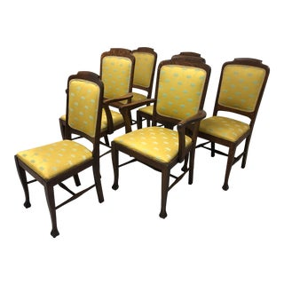 Circa 1900 Antique Quartersawn Tiger Oak Dining Chairs - Set of 6 For Sale