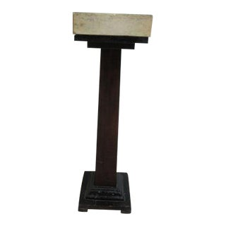 Antique Gothic Victorian Masonic Marble Top Pedestal Stand Taper Candle Stand For Sale