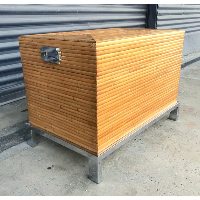 Vintage Split Reed Bamboo and Chrome Trunk For Sale - Image 13 of 13