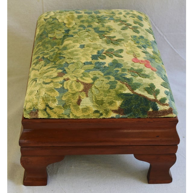 Early 1900s Foot Stool w/ Scalamandre Marly Velvet Fabric - Image 10 of 11