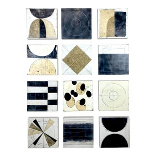 """""""Without Prior Approval"""" Contemporary Abstract Encaustic Collage Paintings Installation by Gina Cochran - Set of 12 For Sale"""