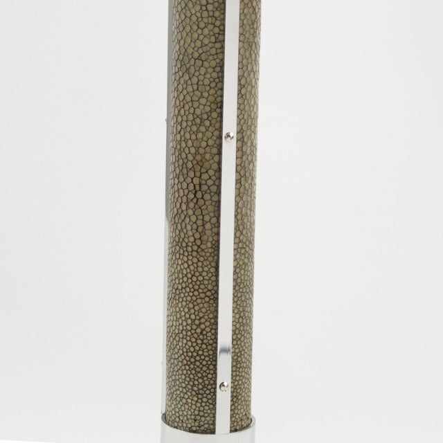 1930s Art Deco 1930s Shagreen Chrome Modernist Table Lamp For Sale - Image 5 of 9
