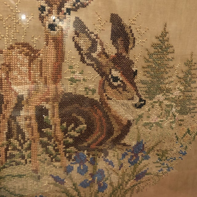 Brown Vintage Deer With Fawn Cross Stitch Framed Textile Art For Sale - Image 8 of 12