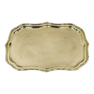 1970s Art Deco Faux Bamboo Brass Tray For Sale